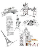 Set of world famous sights — Vector de stock