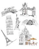 世界の有名な観光スポットのセット — ストックベクタ