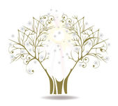 Vintage tree with butterflies — Stock Vector