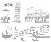Set of Italian sights — Stock Vector