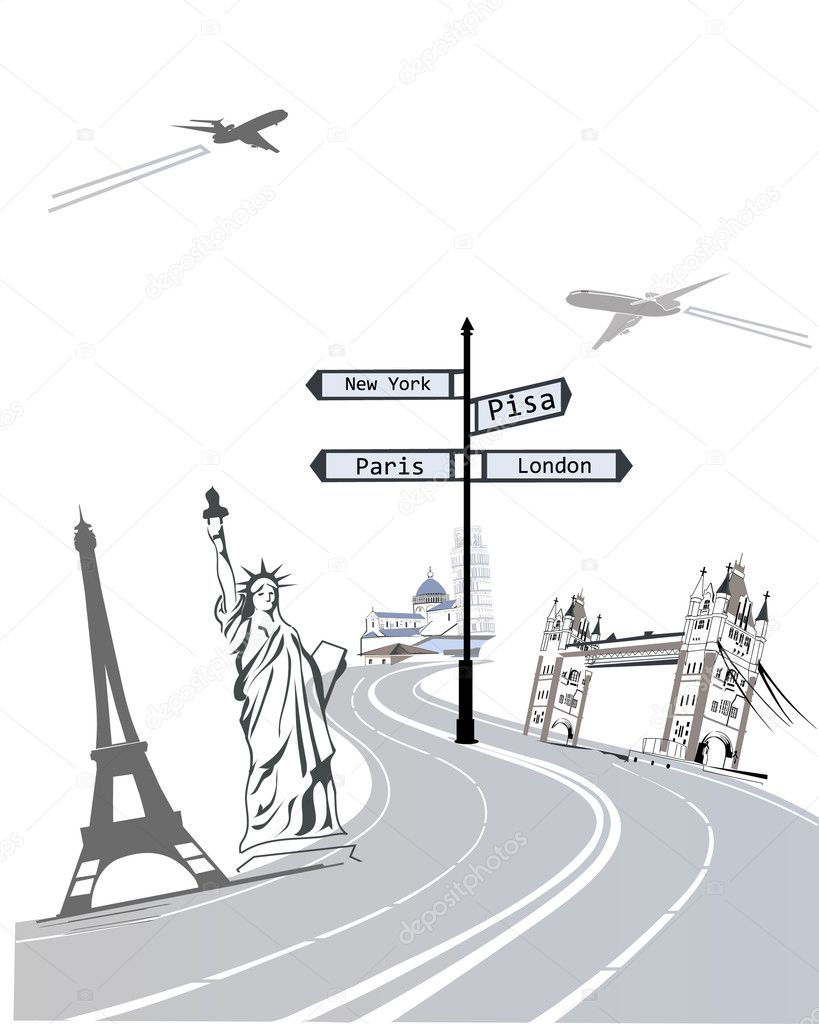 Set of world famous sights, concept — Stock Vector #9473466