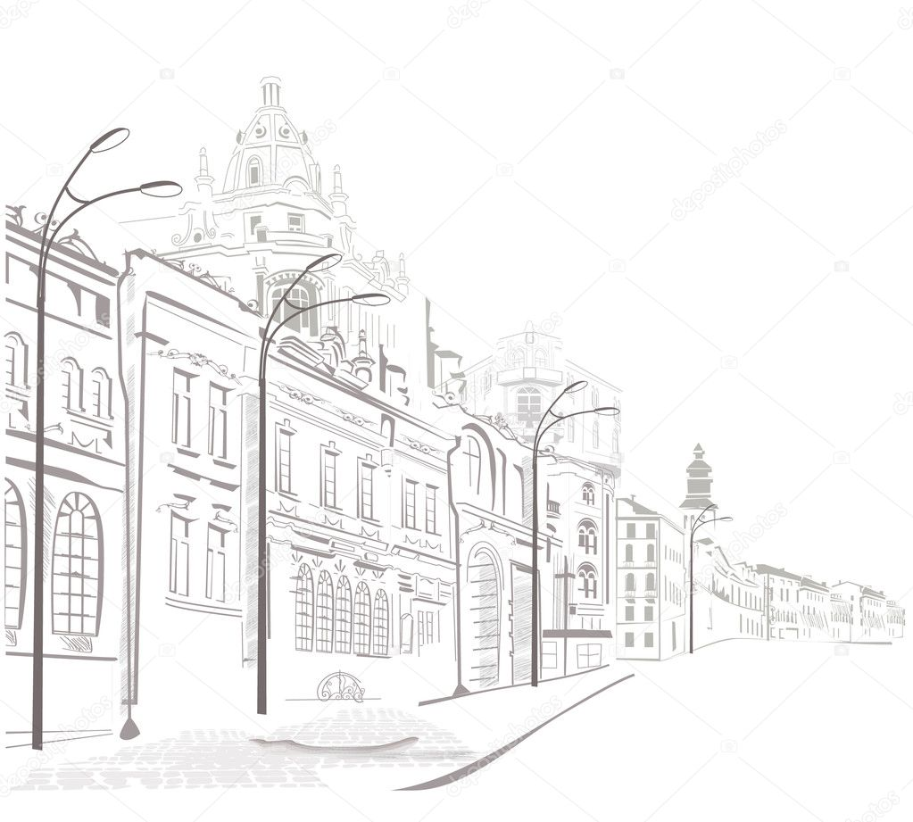 Sketches of streets in the old city — Stock Vector #9473545