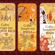 Set of coffee banners from Costa Rica, India, Brazil — Stock Vector