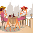 Girls drinking coffee in street cafe — стоковый вектор #9578885