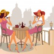 Girls drinking coffee in street cafe — Vector de stock #9578885