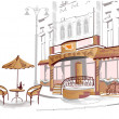 Series of old streets with cafes in sketches — Stockvector #9578936