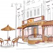 ストックベクタ: Series of old streets with cafes in sketches