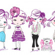 Fashion little girls, kids — Vector de stock #9578970