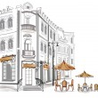 Series of old streets with cafes in sketches — Stockvectorbeeld