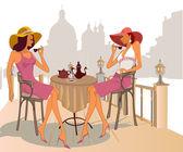 通りのカフェでコーヒーを飲むの女の子 — ストックベクタ
