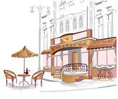 Seria uliczki z kawiarni w szkice — Wektor stockowy