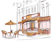 Series of old streets with cafes in sketches — ストックベクタ