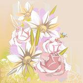 нежный цветочный фон с ромашками и розы — Cтоковый вектор