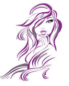 Beautiful girl in lines — Vector de stock