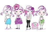 Fashion little girls, kids — Vector de stock