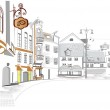 Series of street cafes in old city — Stock Vector