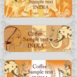 Set of coffee banners from India — Imagens vectoriais em stock
