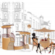 图库矢量图片: Series of street cafes in old city