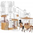 Series of street cafes in old city — Vector de stock #9957545