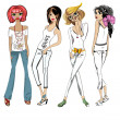 ストックベクタ: Fashion girls, casual wear