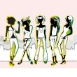 Stock Vector: Fashion girls, casual wear
