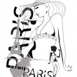 Paris lettering with fashion girls — Stock Vector