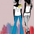 Fashion girls, casual wear — Imagen vectorial