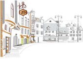 系列的街头咖啡馆在旧城 — 图库矢量图片