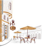 Series of street cafes in old city — Vector de stock