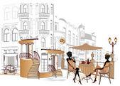 Aantal straatcafés in oude stad — Stockvector