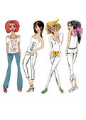 Fashion girls, casual wear — Vector de stock