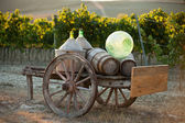 A cart loaded with wine bottles — Stock Photo