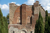 The Facade of the Abbey of San Galgano, Tuscany, — Stock Photo