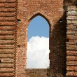 图库照片: Facade of Abbey of SGalgano, Tuscany,