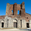 The Facade of the Abbey of San Galgano, Tuscany, - Stock Photo