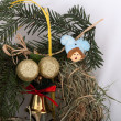 Eco-friendly Christmas decorations, hand-made of hay — Stock Photo
