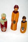 Figures representing nativity scene on white background — Stock Photo