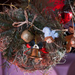 Eco-friendly Christmas decorations, hand-made of hay - Stock Photo