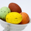 Colorful easter eggs in white cup — Stock Photo
