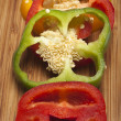 Close up of red, yellow and green peppers — Stockfoto