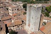 Tuscan village San Gimignano view from the tower — Stock Photo
