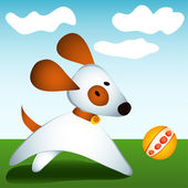 Dog plays with ball — Stock Vector