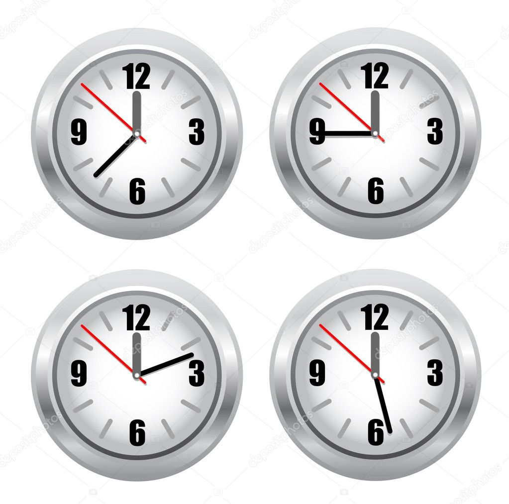 Set of standard clockface. vector illustracion — Stock Vector #10069581