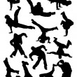 Silhouette of  breakdancer — Stock Vector