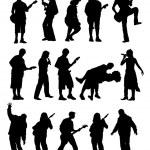 siluet müzisyen — Stok Vektör #10093627