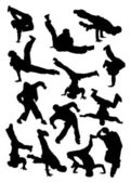 Silhouette of breakdancer — Stockvector
