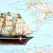 Ship on map - Stock Photo