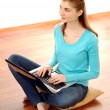 Young Attractive Woman Working with Laptop at Home — Stok fotoğraf