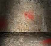 Empty Concrete Room With Blood Spatter — Stock Photo