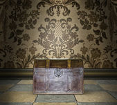 Locked Treasure Chest in a Damask Room — Stock Photo